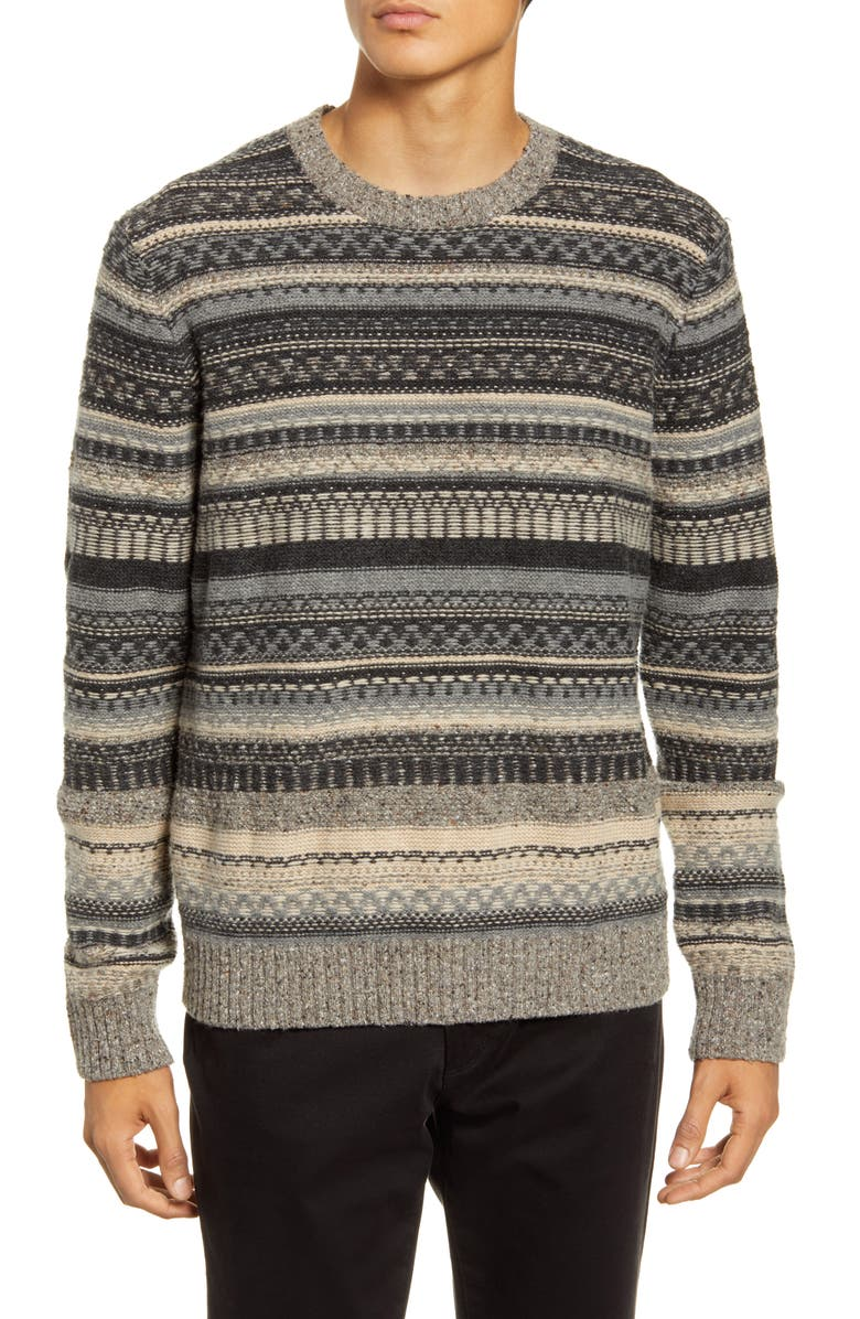 VINCE Fair Isle Crewneck Wool Blend Sweater, Main, color, WOODLAND