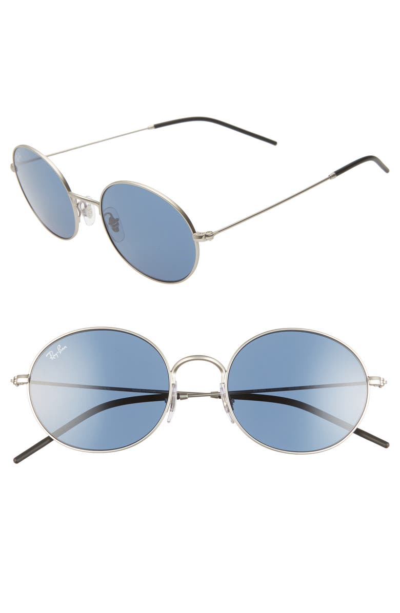 RAY-BAN 33mm Round Sunglasses, Main, color, RUBBER SILVER