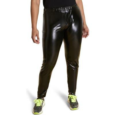Plus Size Marina Rinaldi Occupare Laminated Leggings, Black