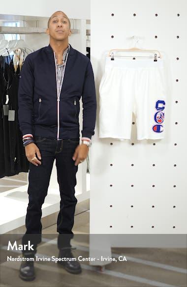 Reverse Weave Felt Patch Cutoff Fleece Shorts, sales video thumbnail