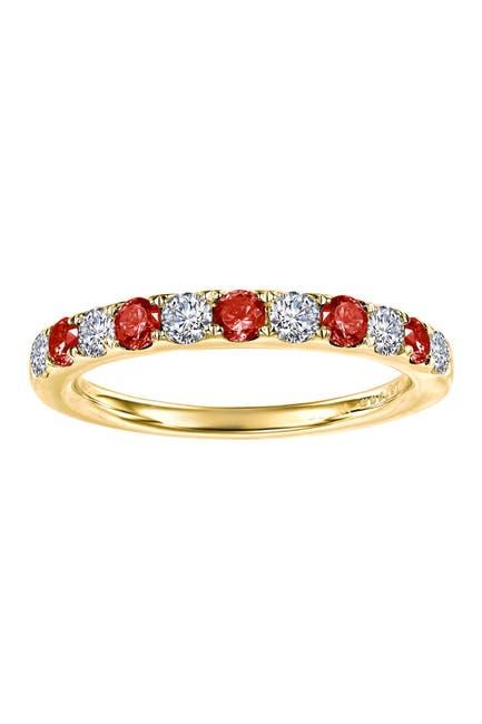 Image of LaFonn Gold Plated January Garnet Birthstone Band Ring