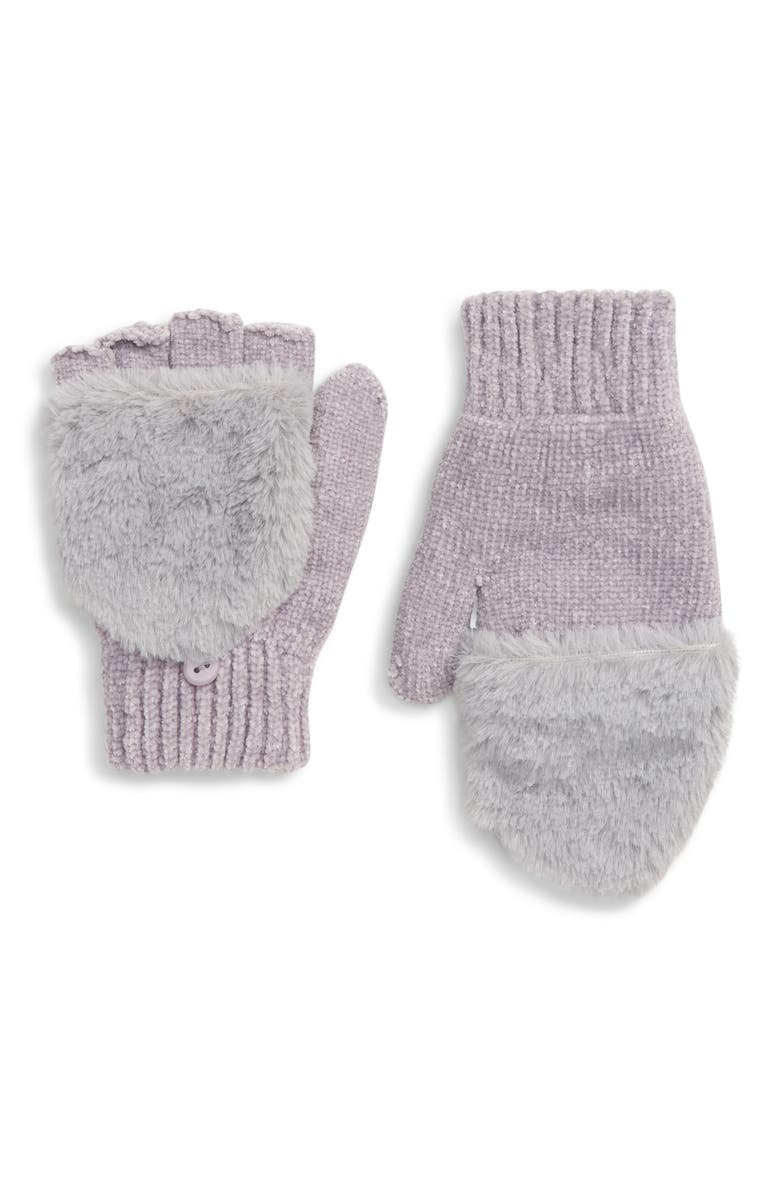 CAPELLI NEW YORK Faux Fur Trim Flip Top Chenille Mittens, Main, color, 027