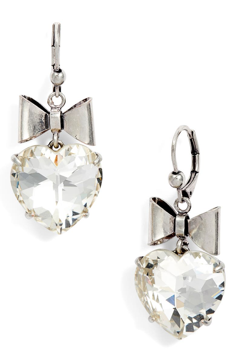 b3187fff6 Heart & Bow Drop Earrings, Main, color, SILVER/ CRYSTAL