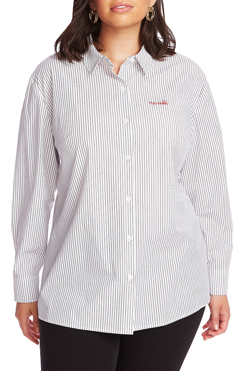 COURT & ROWE Preppy Embroidered Stripe Shirt, Main, color, ULTRA WHITE