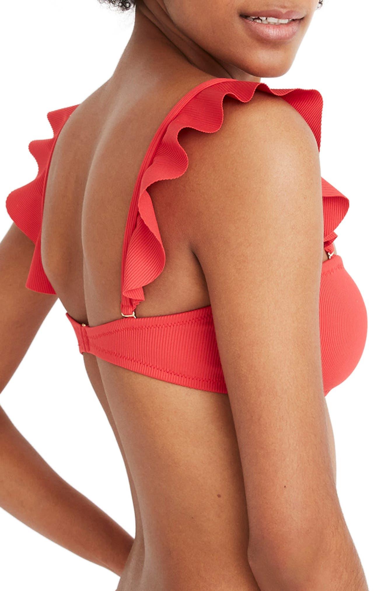 ,                             Second Wave Ribbed Ruffle Strap Bandeau Bikini Top,                             Alternate thumbnail 3, color,                             AMERICANA RED