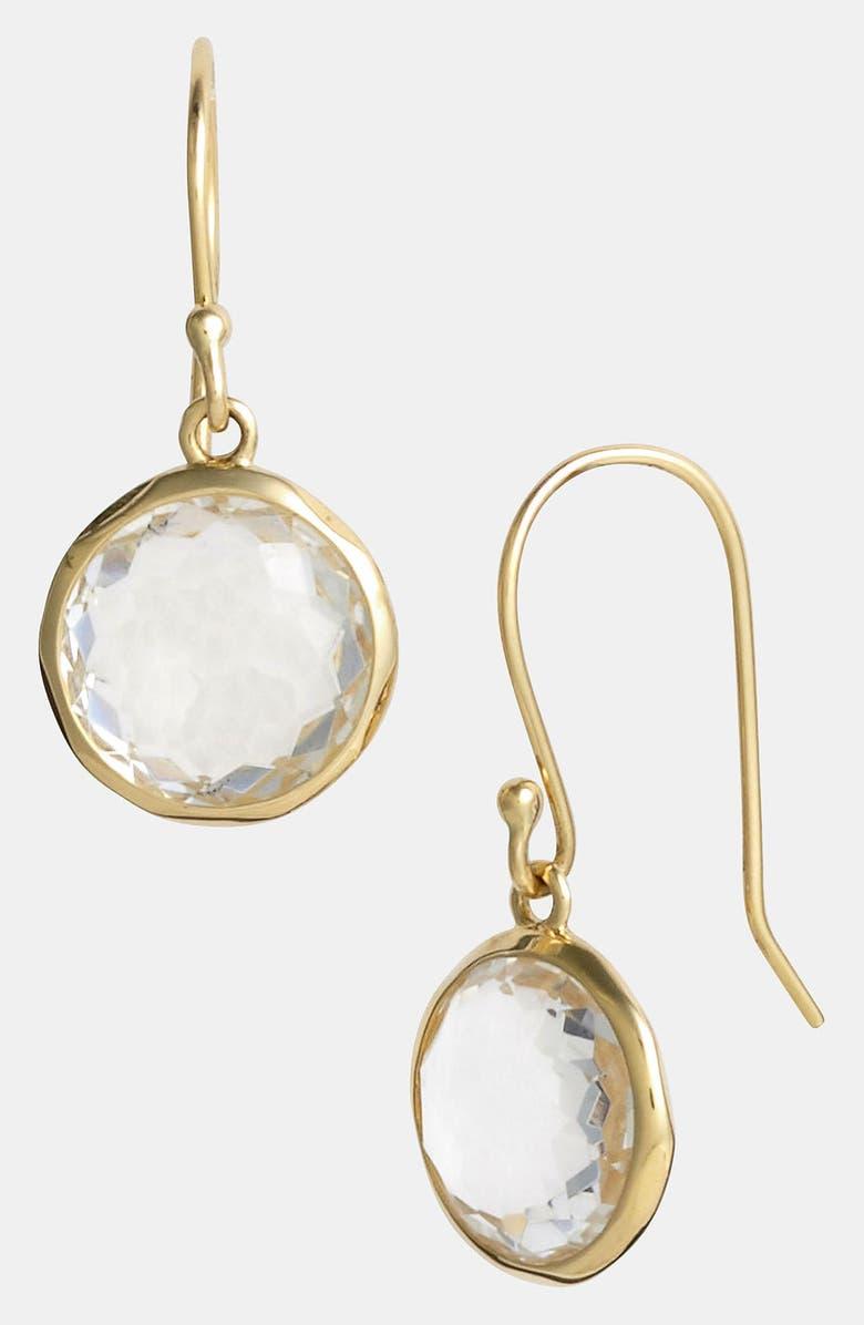 IPPOLITA 'Rock Candy - Mini Lollipop' 18k Gold Drop Earrings, Main, color, YELLOW GOLD/CLEAR QUARTZ