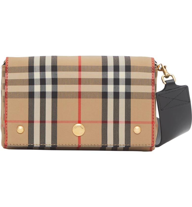 BURBERRY Hackberry Check Canvas Crossbody Bag, Main, color, 250