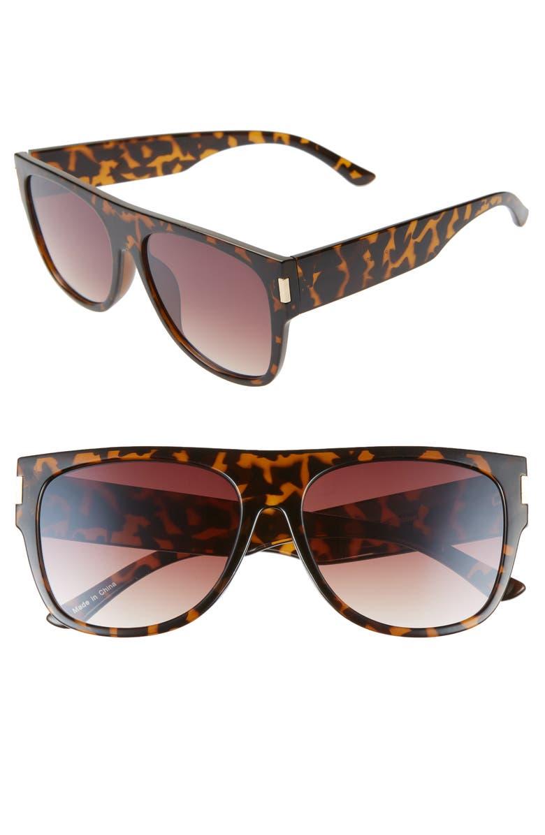 BP. 58mm Shield Sunglasses, Main, color, TORT