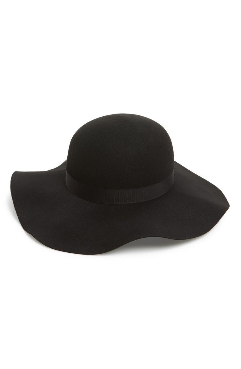 TOPSHOP Floppy Felt Hat, Main, color, 001