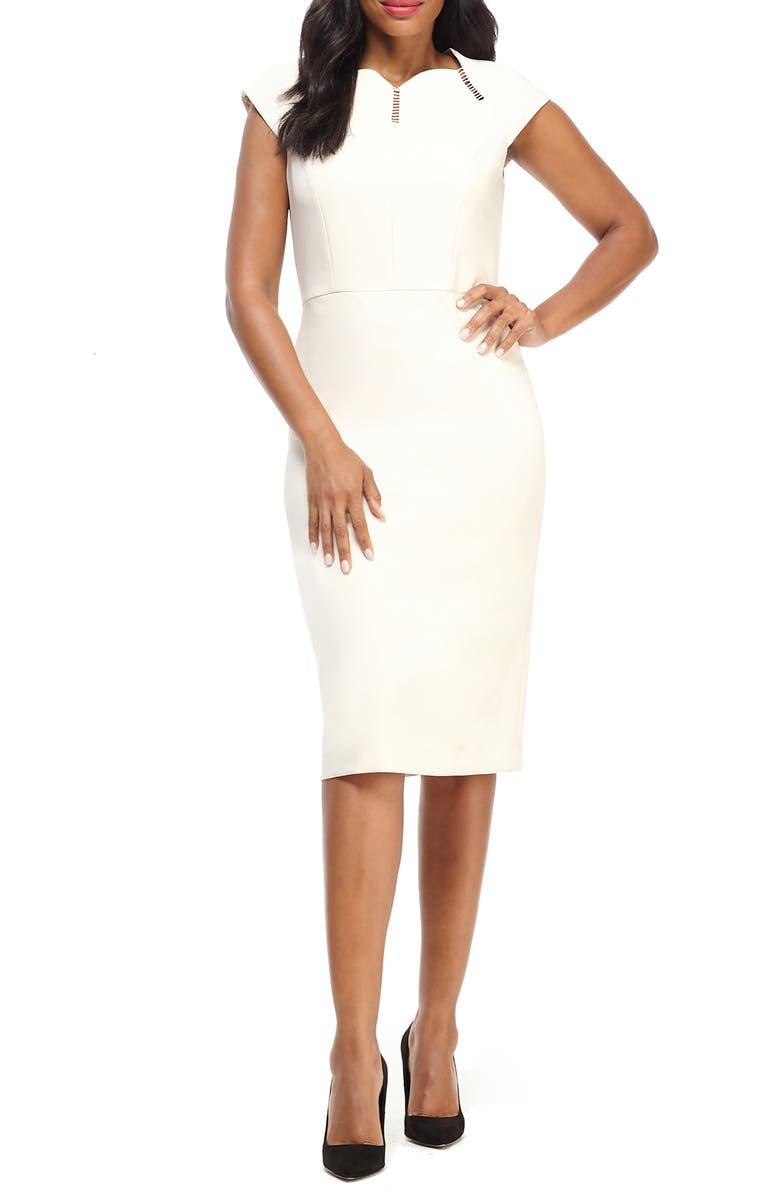 MAGGY LONDON Hudson Scallop Neck Crepe Dress, Main, color, OYSTER