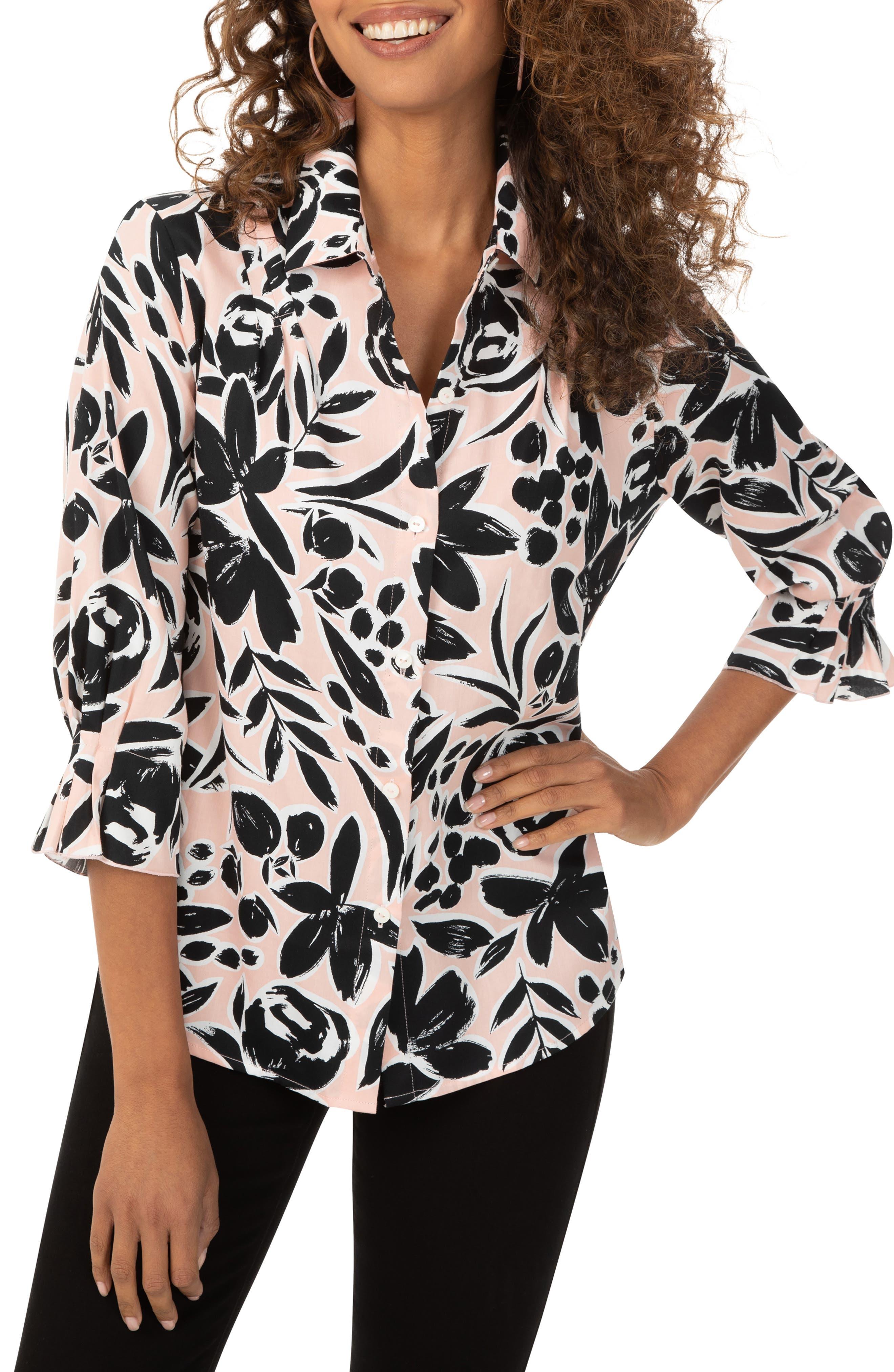 Women's Foxcoft Floral Print Pleated Button-Up Shirt