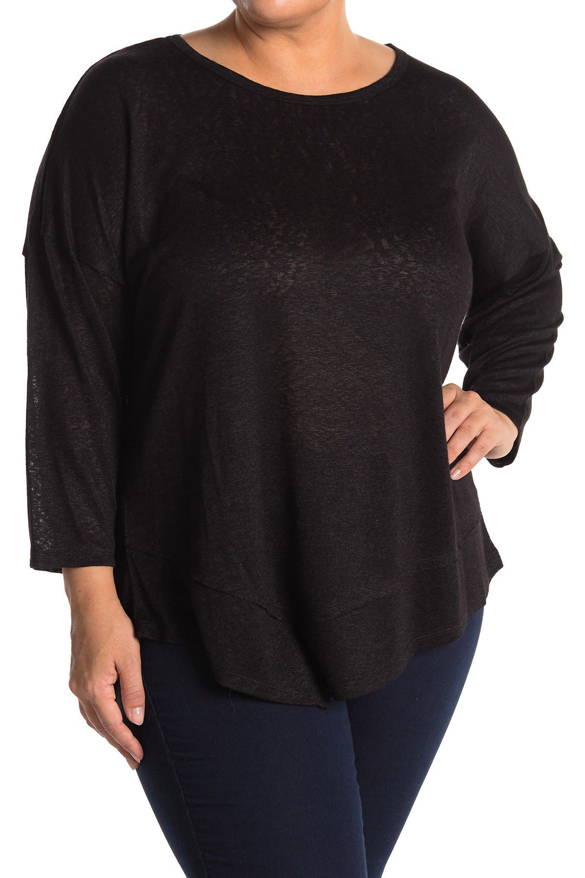 Image of Bobeau Asymmetrical Solid 3/4 Sleeve Top