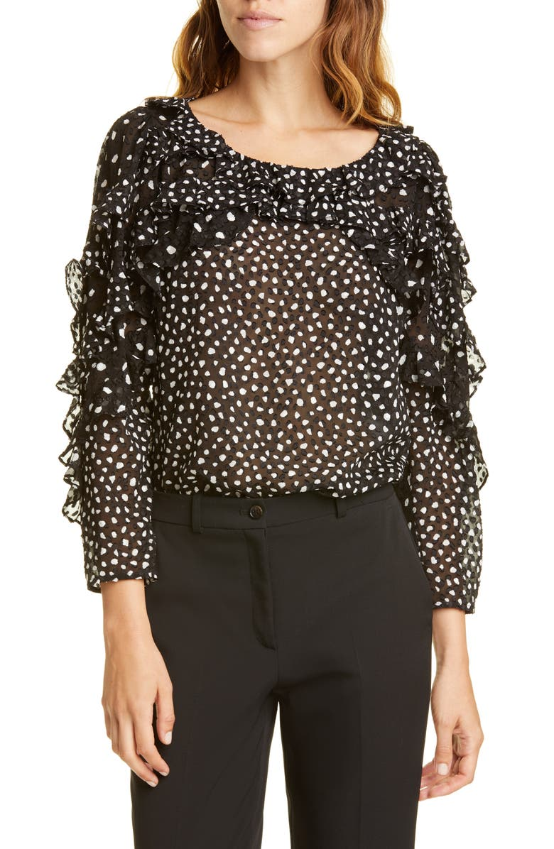 REBECCA TAYLOR Dot Ruffle Silk Blend Top, Main, color, BLACK