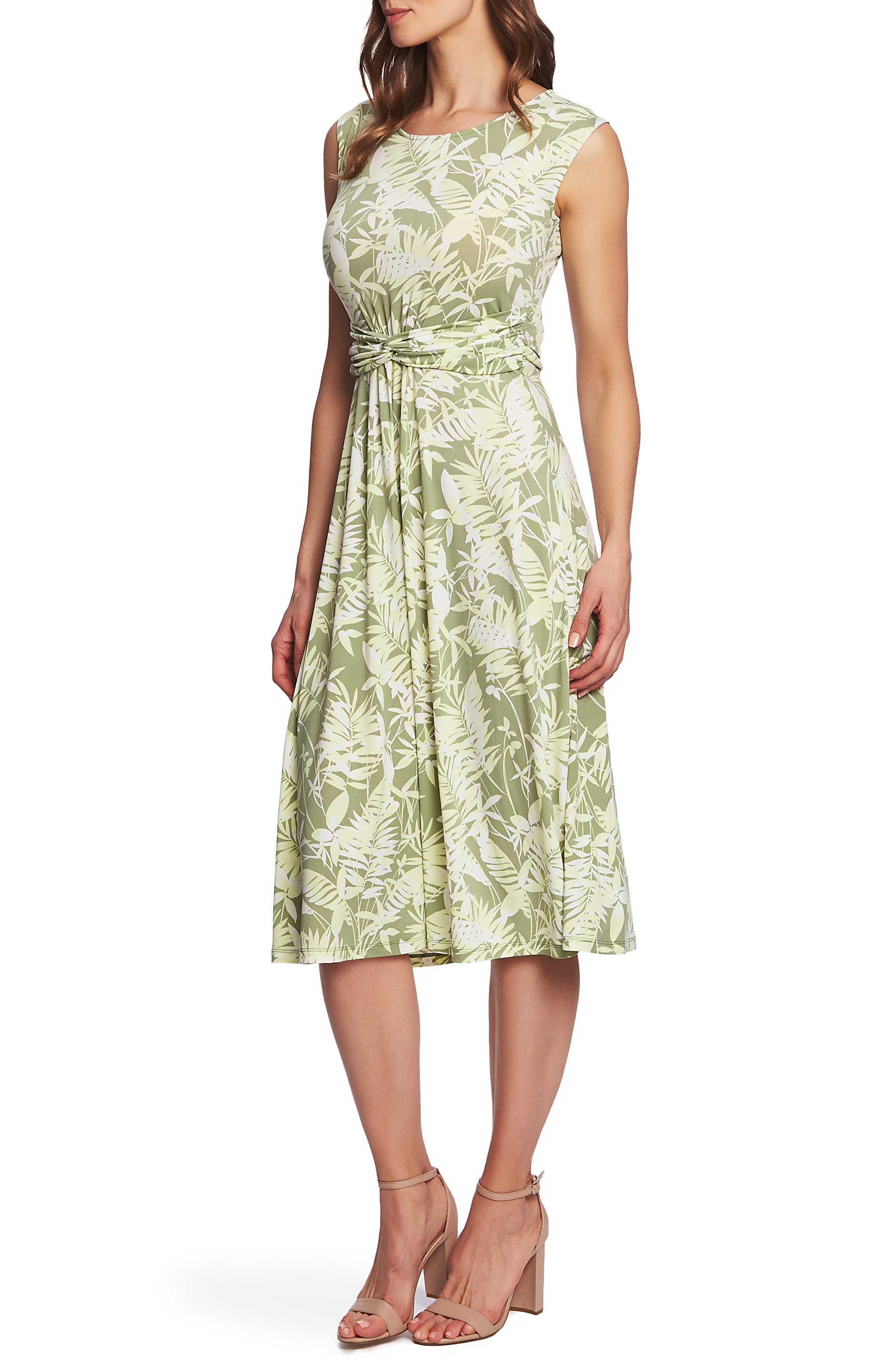 ,                             Tropical Foliage Tie Waist Dress,                             Alternate thumbnail 3, color,                             CITRUS PEEL