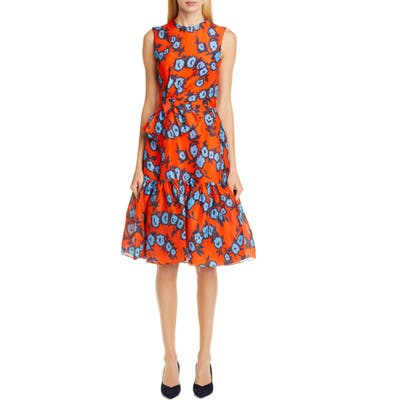 Carolina Herrera Floral Bow Waist Silk Dress, Orange