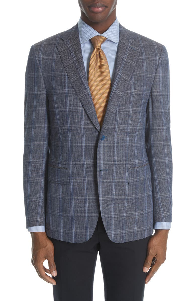 CANALI Siena Classic Fit Plaid Wool Travel Sport Coat, Main, color, 410
