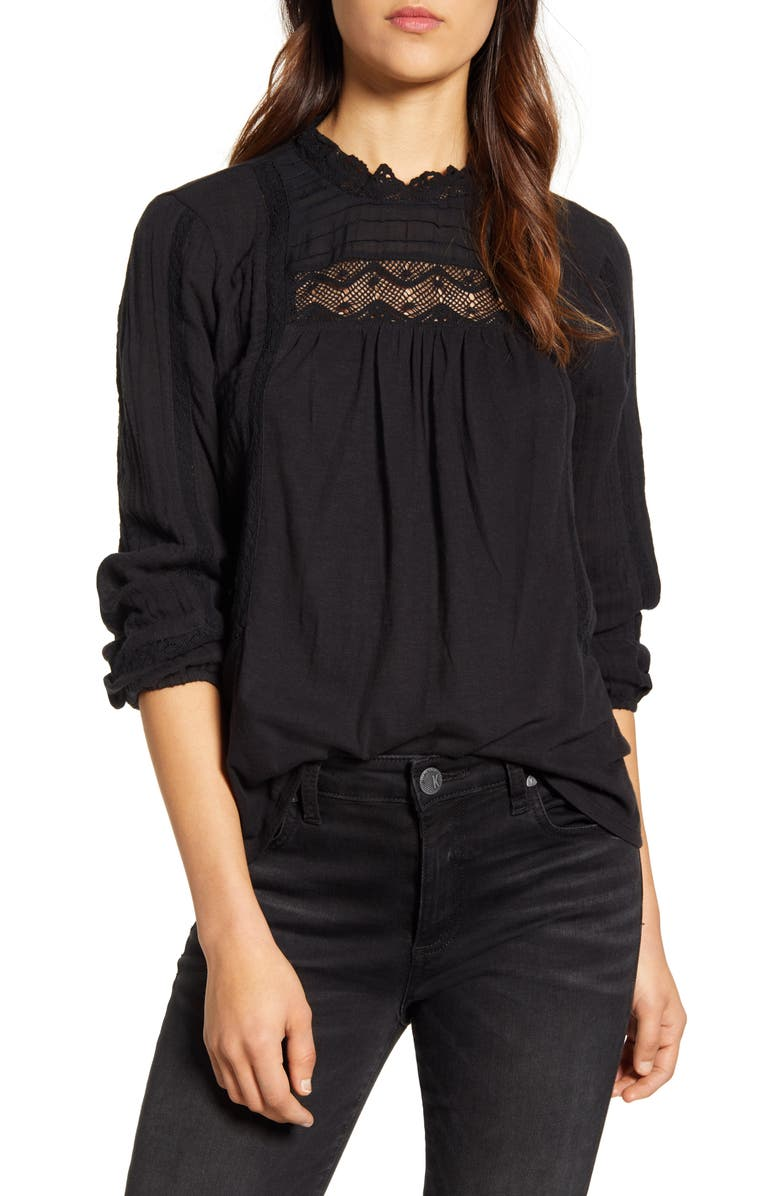 LUCKY BRAND Lace Yoke Cotton Peasant Blouse, Main, color, LUCKY BLACK