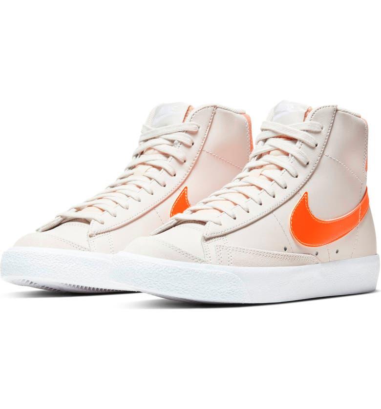NIKE Blazer Mid '77 High Top Sneaker, Main, color, LIGHT BONE/ ORANGE/ ORANGE