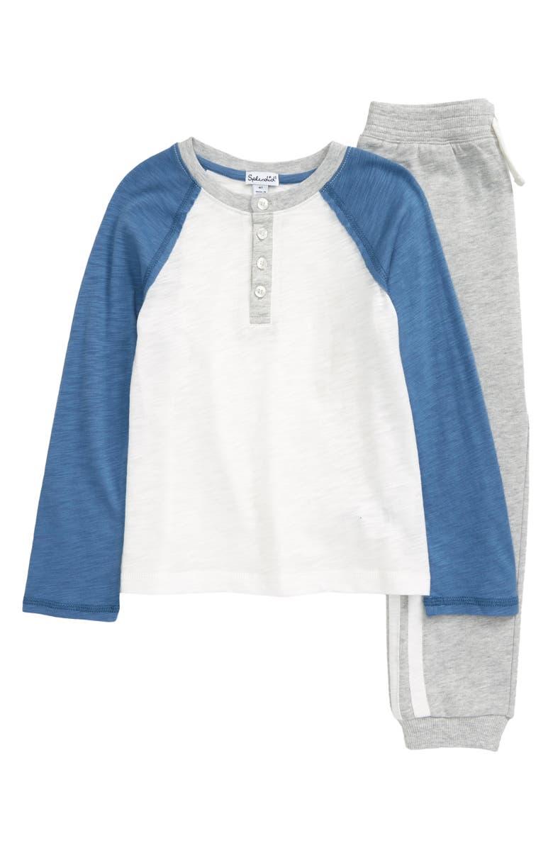 SPLENDID Raglan Henley Shirt & Pants Set, Main, color, 100