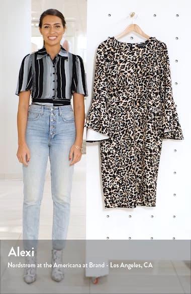 Flare Long Sleeve Scuba Sheath Dress, sales video thumbnail