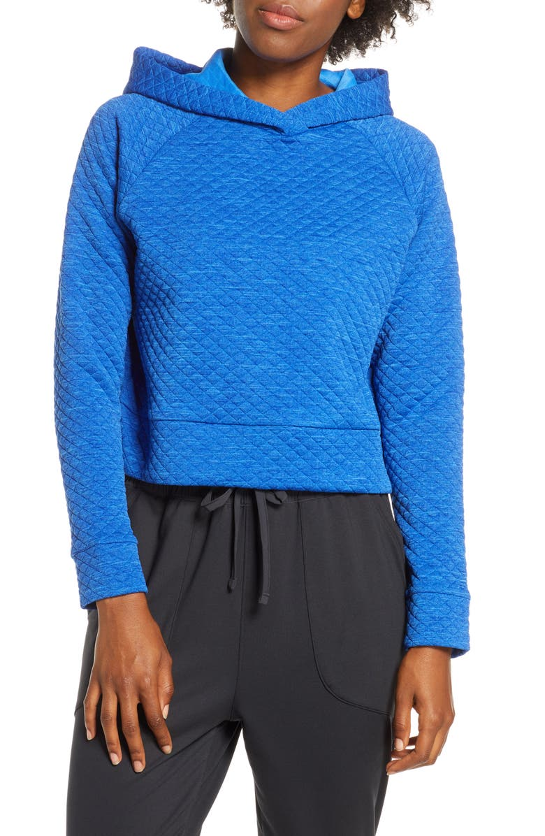 NEW BALANCE Heat Loft Crop Hoodie, Main, color, VIVID COBALT HEATHER