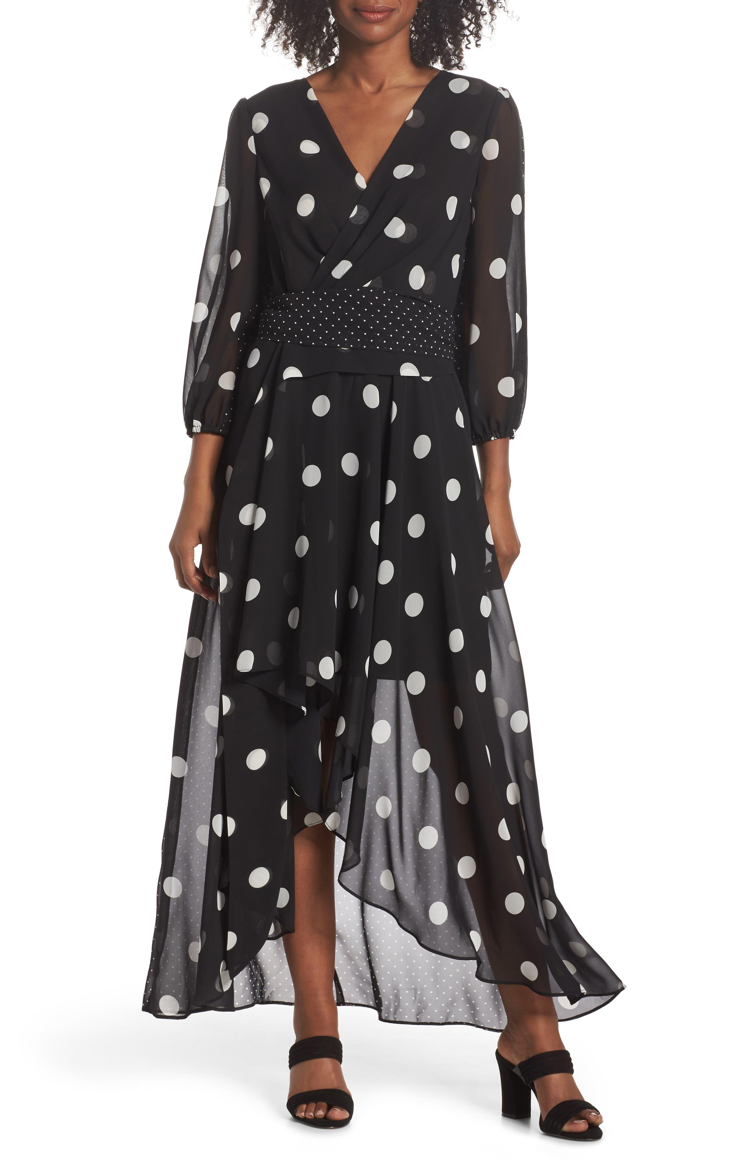 Image of Eliza J Polka Dot Chiffon Maxi Dress