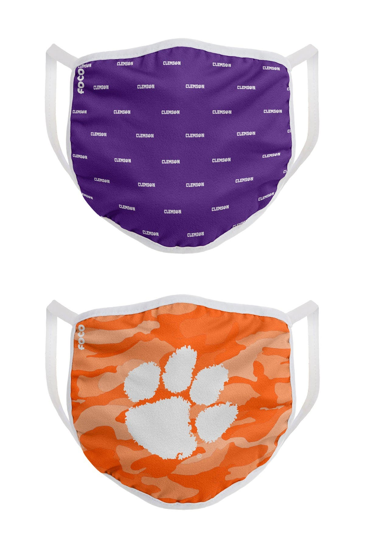 Image of FOCO NCAA Clemson Clutch Printed Face Cover - Pack of 2