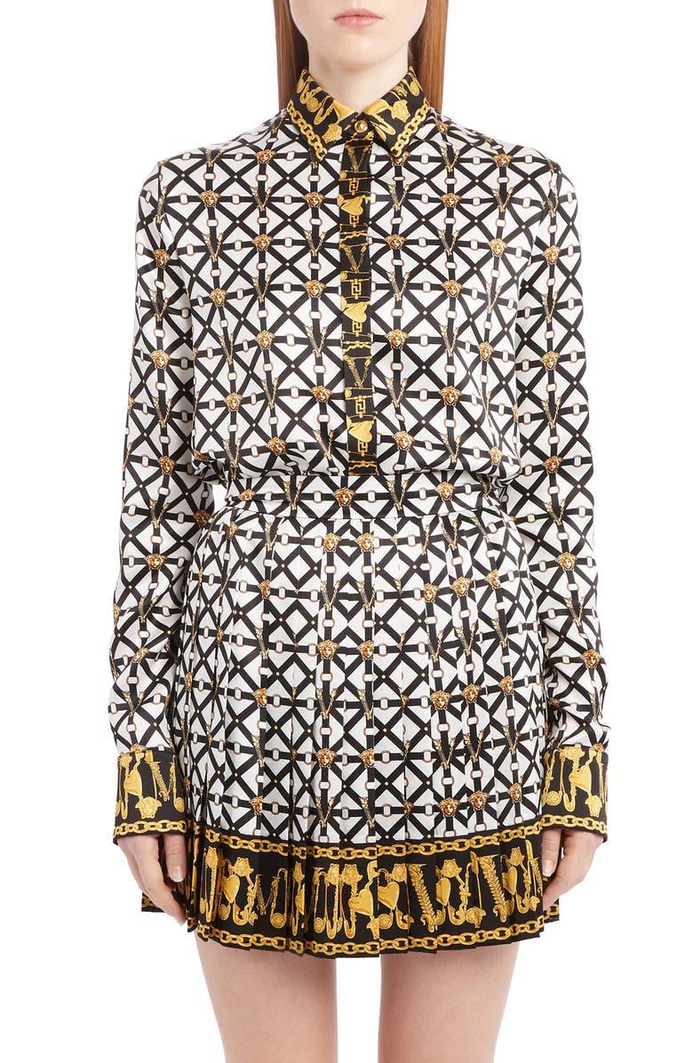 VERSACE Harness Print Silk Blouse, Main, color, BLACK WHITE