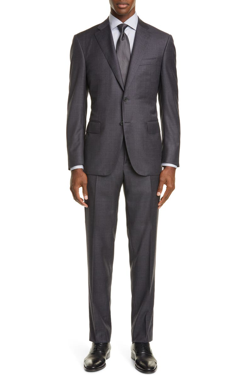 CANALI Sienna Soft Classic Fit Plaid Wool Suit, Main, color, GREY