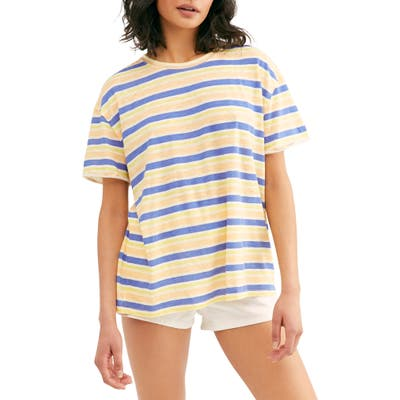 Free People Clarity Cotton Blend Tee, Blue
