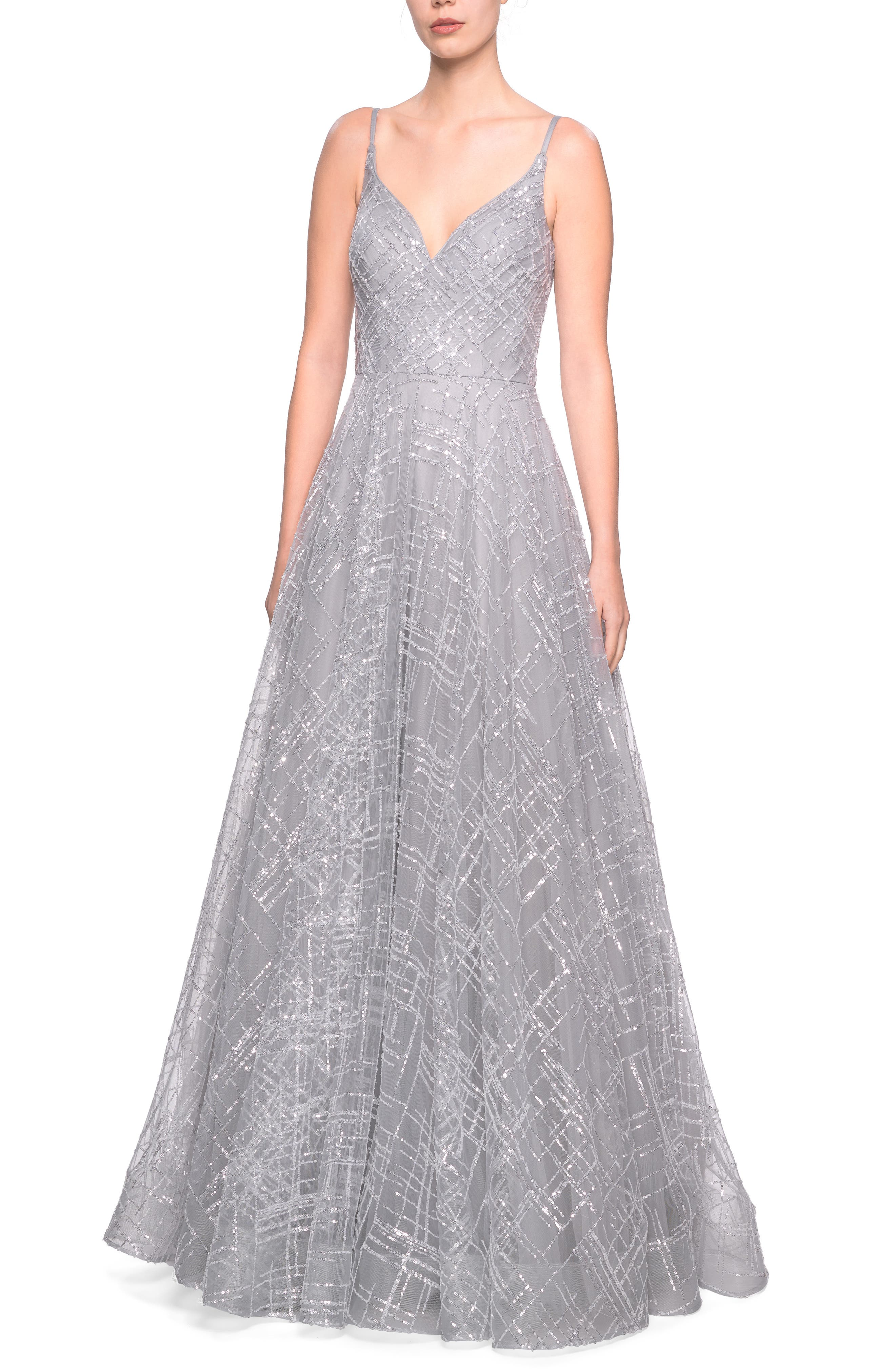 La Femme Sequin Evening Dress, Grey