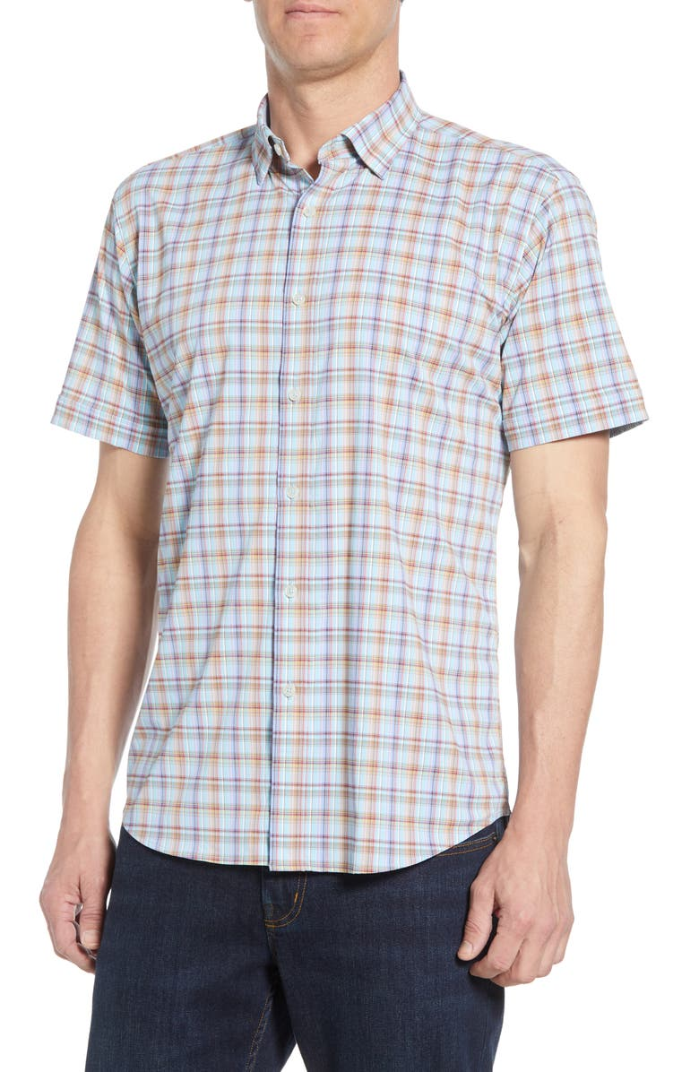 BUGATCHI Shaped Fit Plaid Performance Shirt, Main, color, AQUA