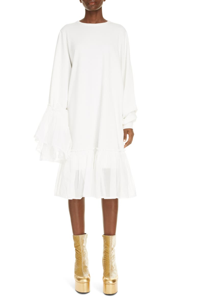 DRIES VAN NOTEN Asymmetrical Ruffle Long Sleeve Shift Dress, Main, color, 100