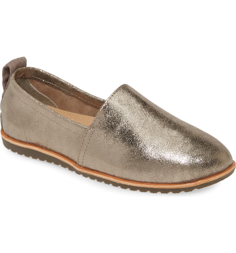 SOREL Ella Slip-On Flat, Main, color, ASH BROWN METALLIC SUEDE