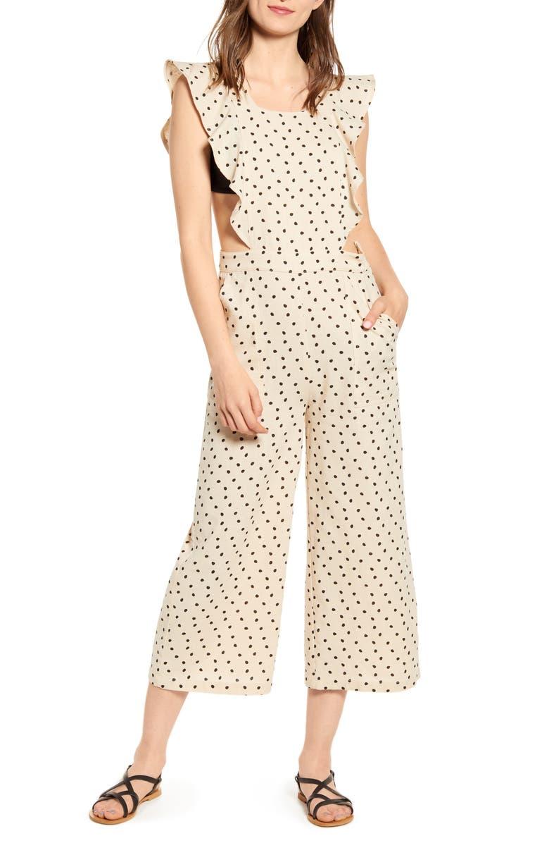 MINKPINK Pip Polka Dot Ruffle Jumpsuit, Main, color, 250