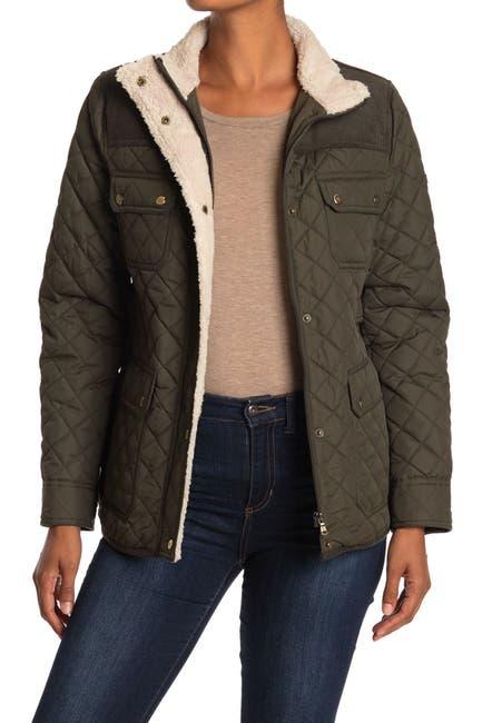 Image of Lauren Ralph Lauren Short Quilted & Corduroy Fleece Trimmed Jacket