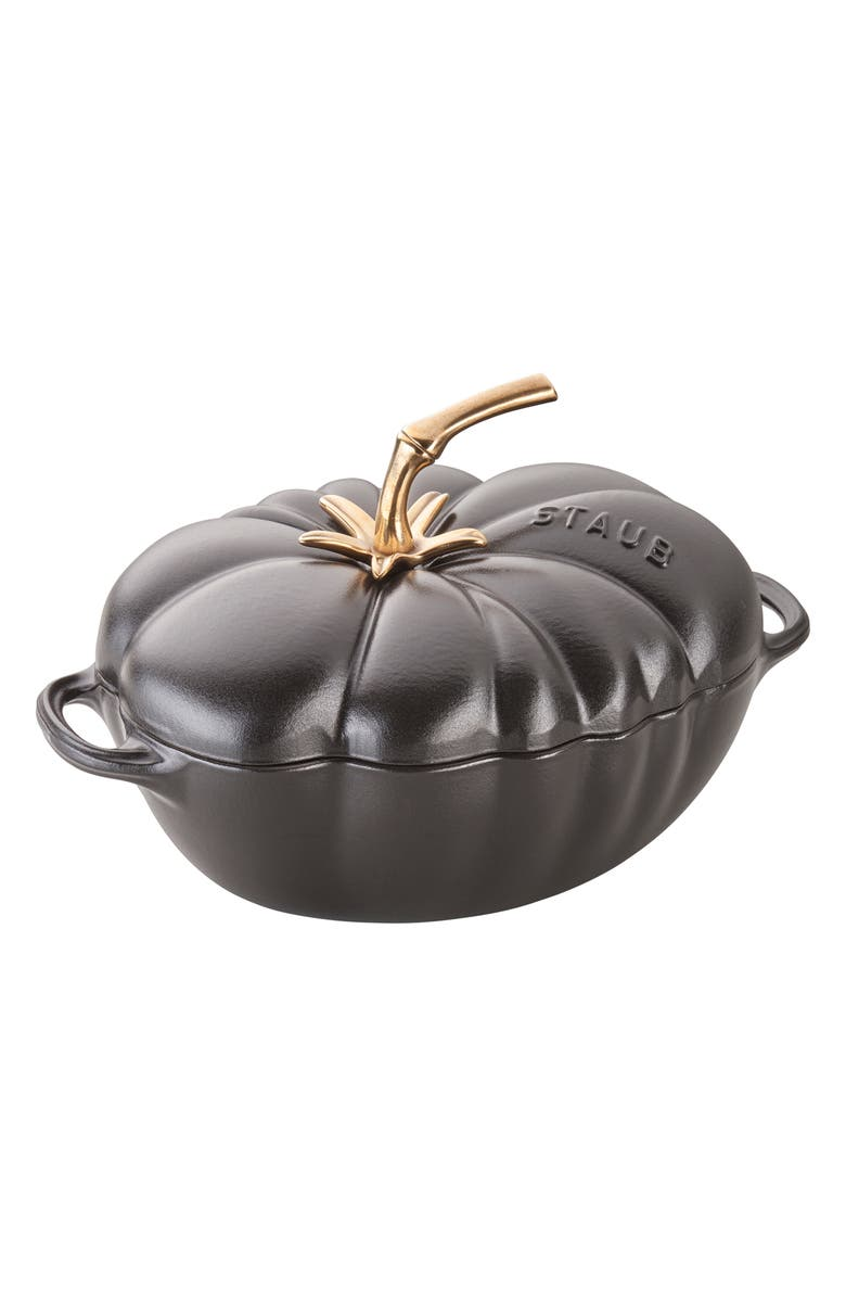 STAUB 3-Quart Tomato Enameled Cast Iron Cocotte, Main, color, BLACK