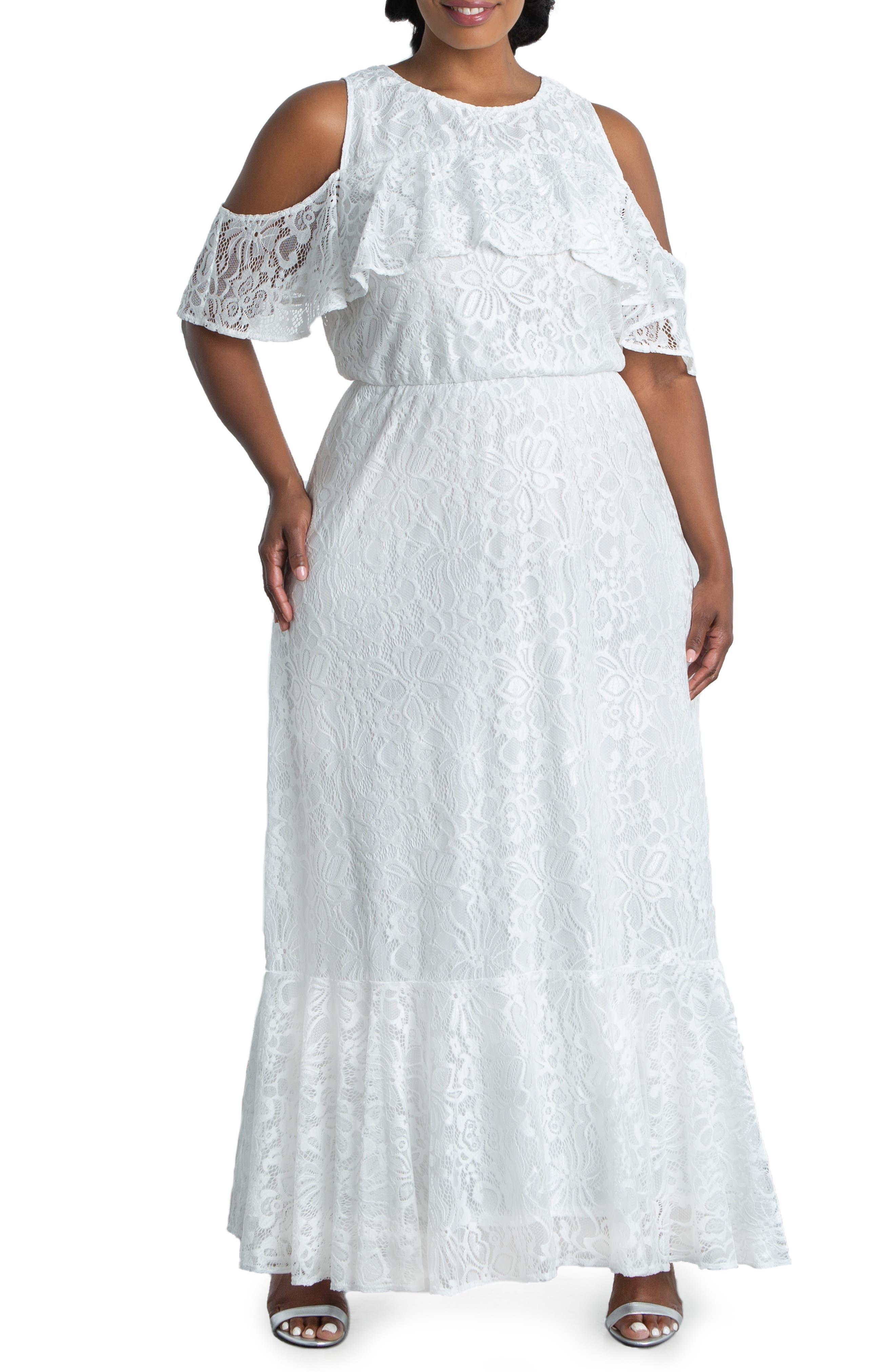 Savannah Cold Shoulder Lace Gown