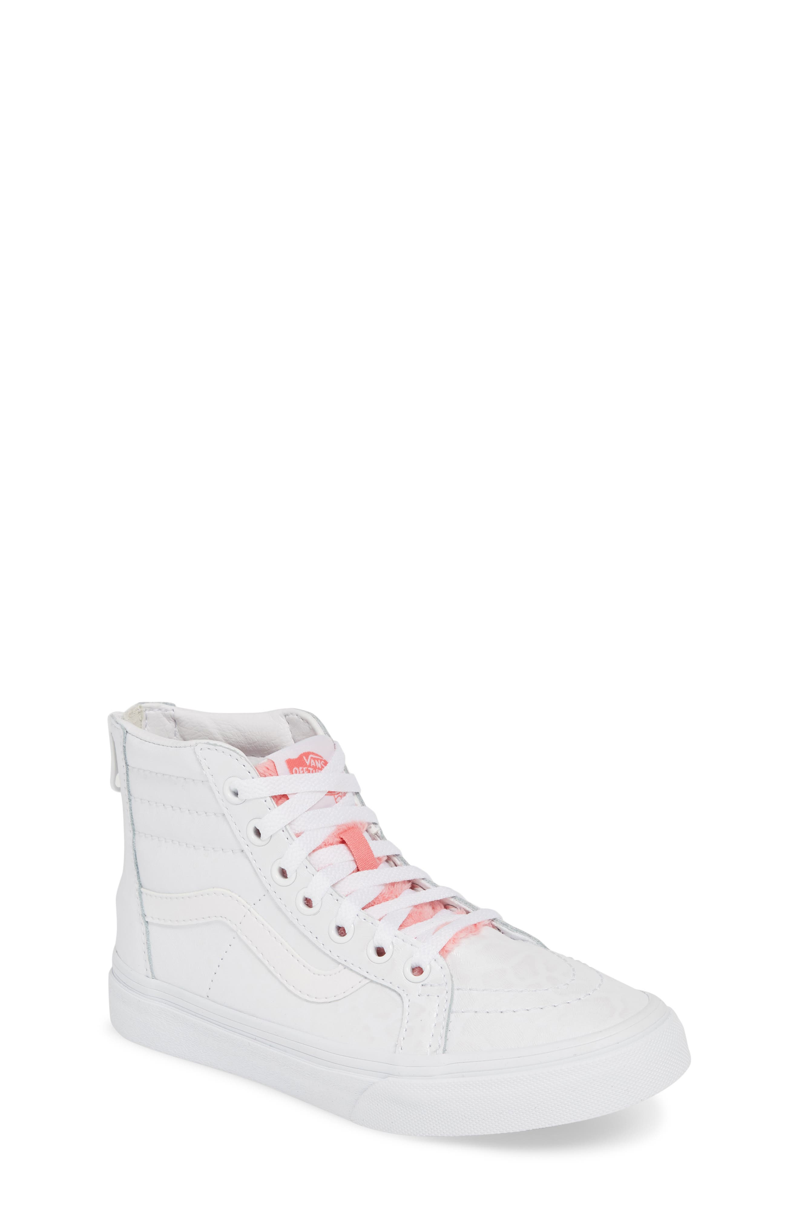 SK8-Hi Zip Leather & Faux Fur Sneaker, Main, color, WHITE GIRAFFE TRUE WHITE/ PINK