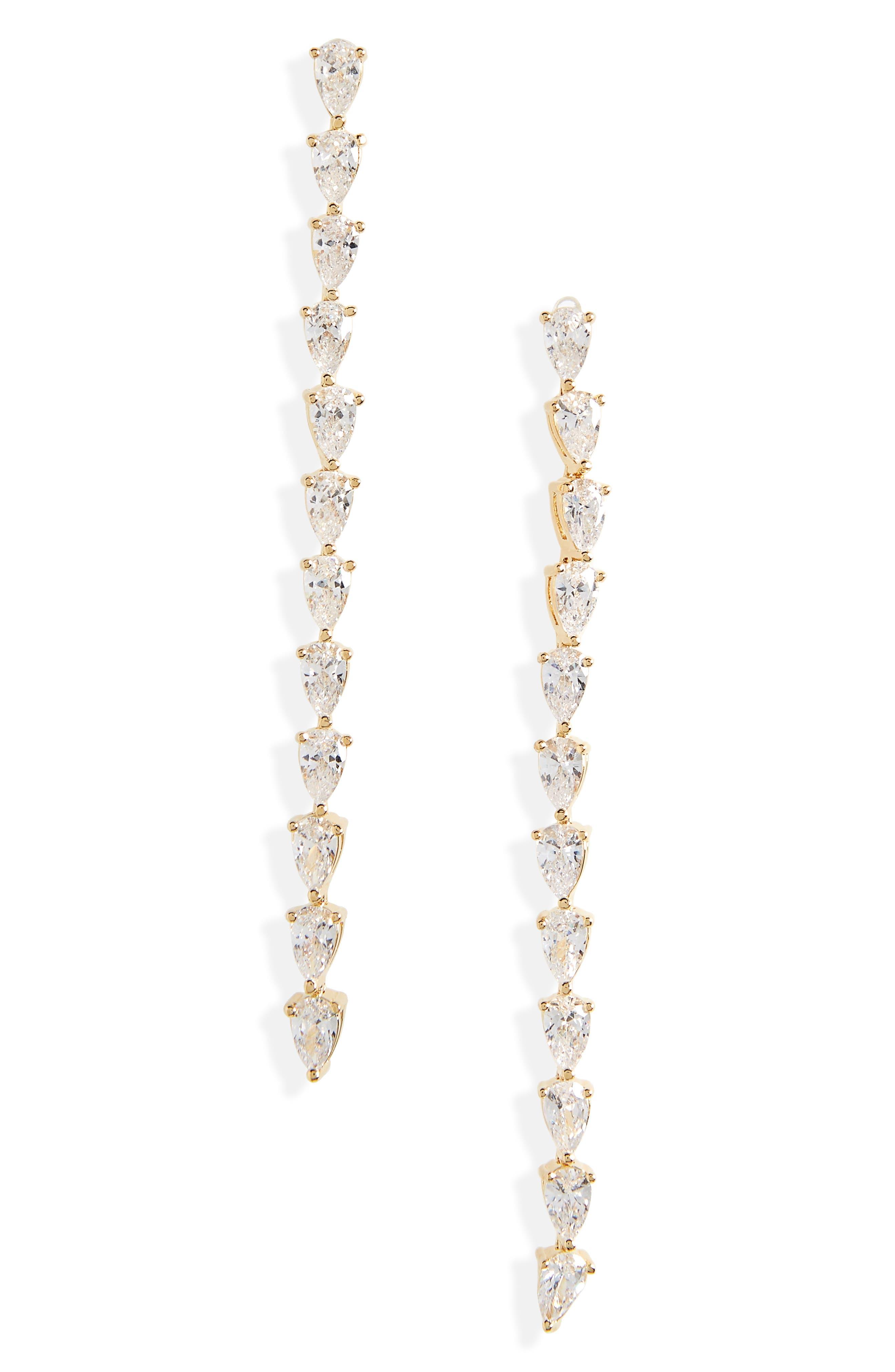 Image of Nordstrom Pear Cubic Zirconia Linear Earrings