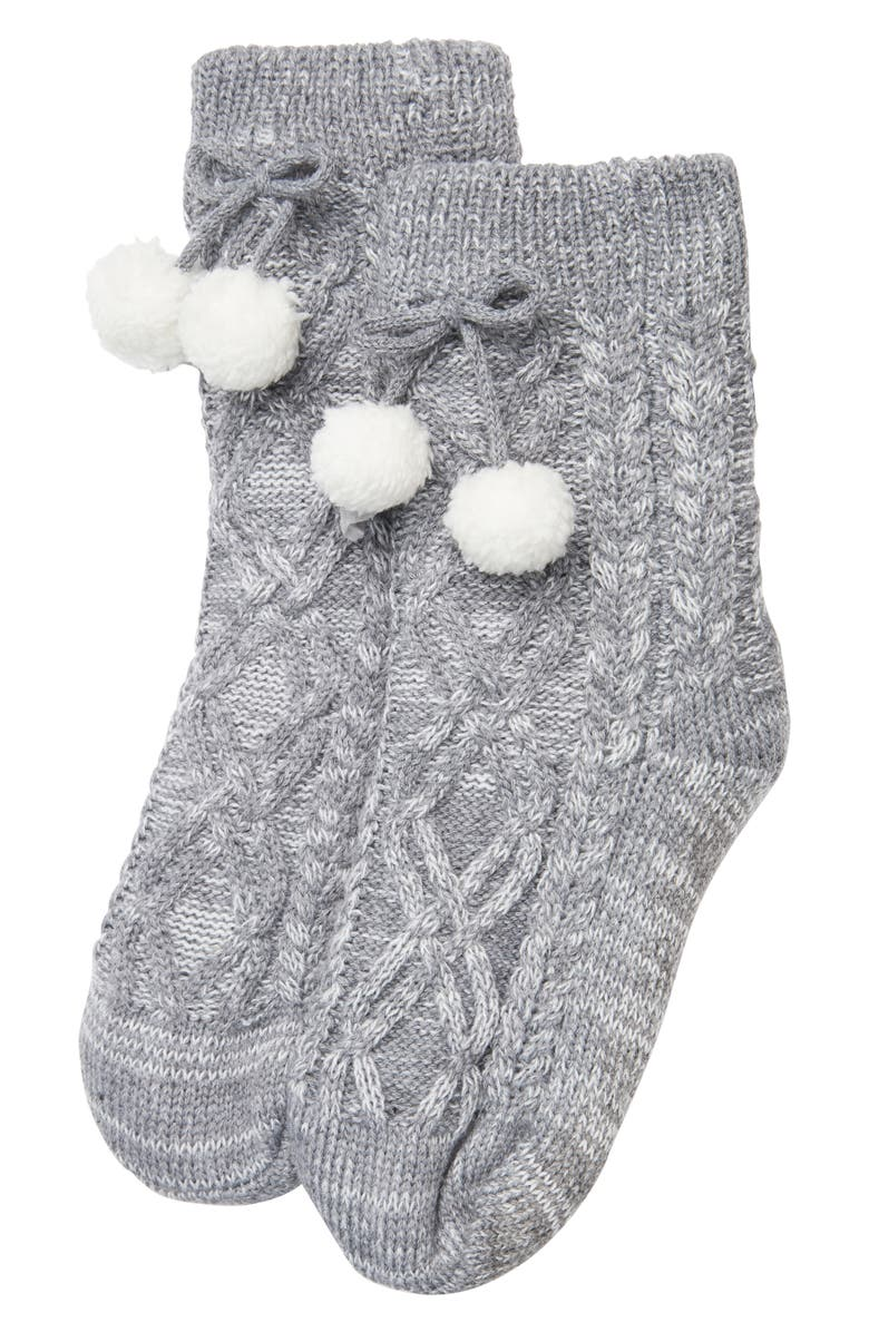 THE WHITE COMPANY Cable Knit Slipper Socks, Main, color, 020