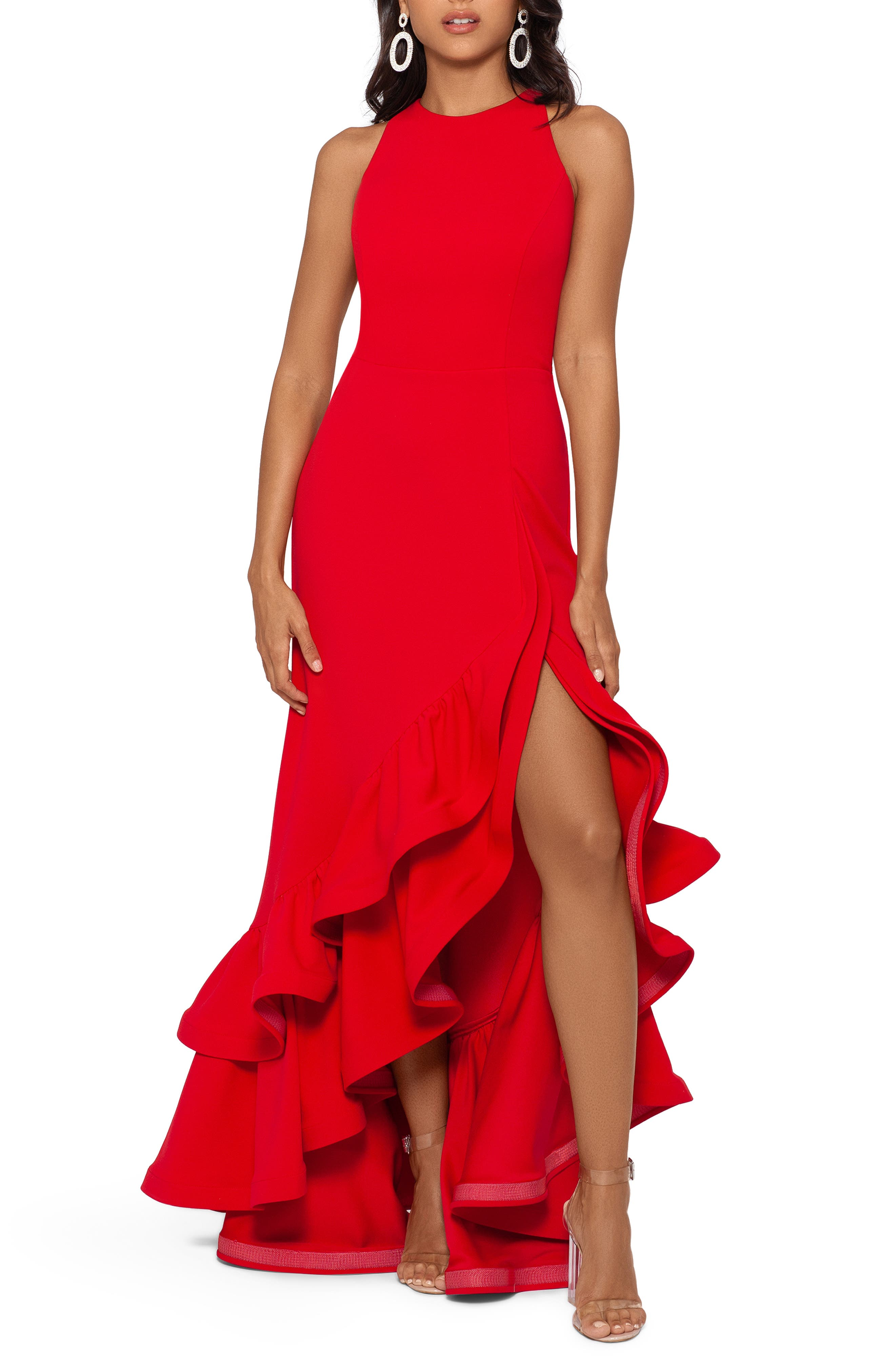 Betsy & Adam Ruffle Halter Crepe Gown | Nordstrom