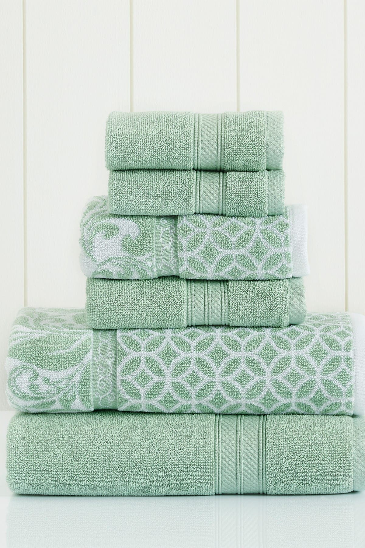Image of Modern Threads Sage Trefoil Filigree Reversible Yarn-Dyed Jacquard 6-Piece Towel Set