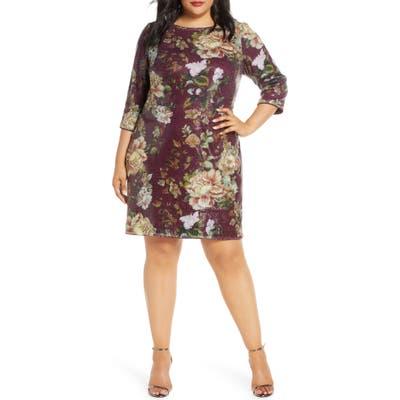 Plus Size Vince Camuto Floral Sequin Shift Dress, Burgundy