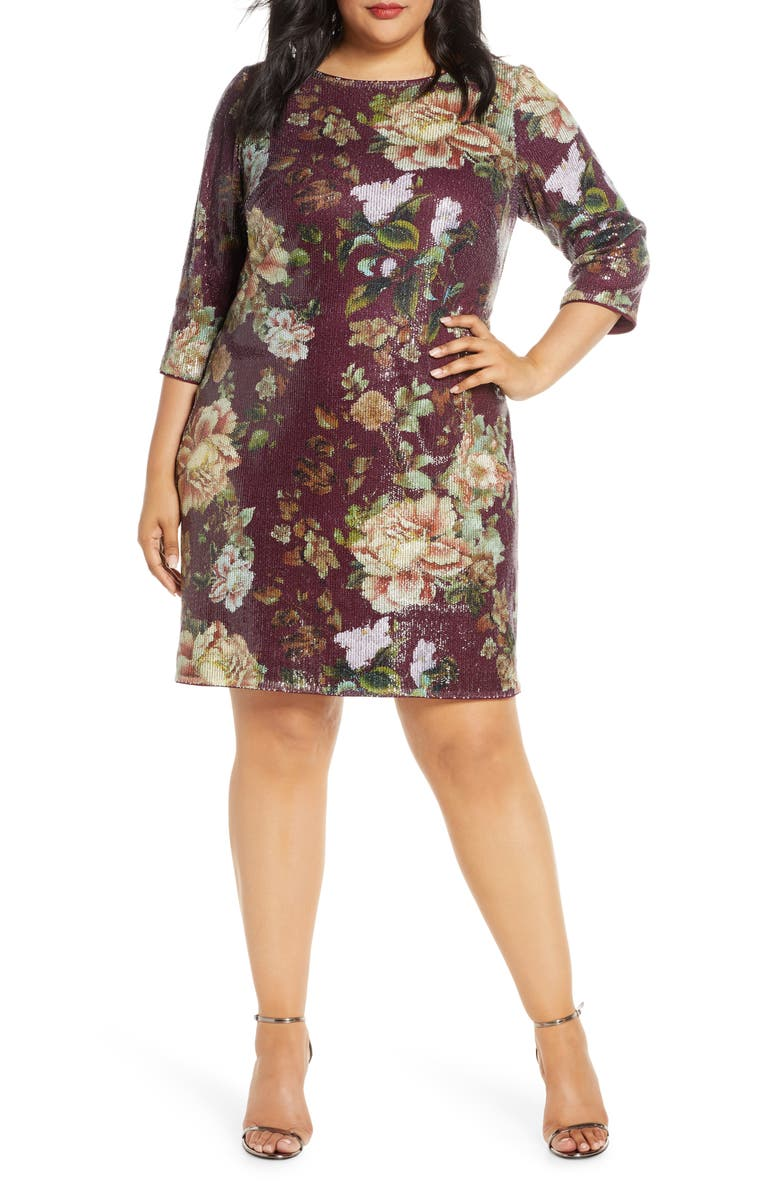 VINCE CAMUTO Floral Sequin Shift Dress, Main, color, WINE MULTI