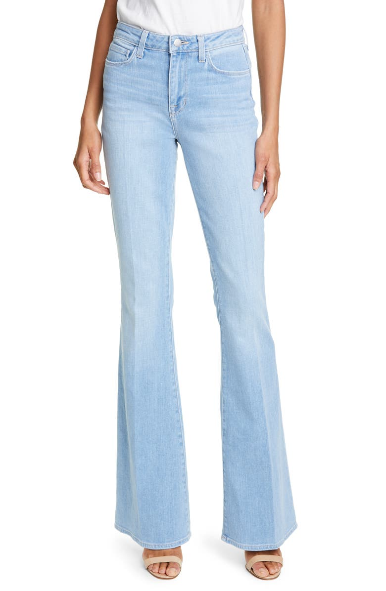 LAGENCE Bell High Waist Flare Jeans Blue Cloud