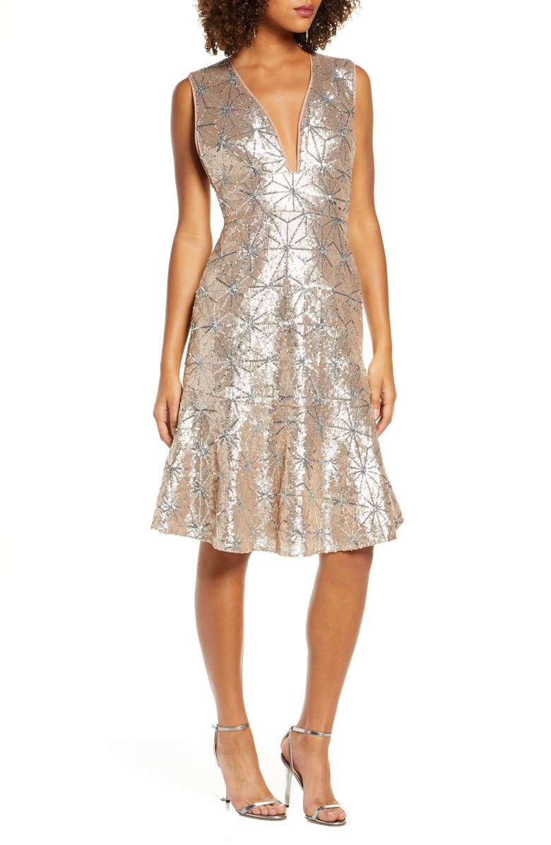 HARLYN Sequin Flare Hem Cocktail Dress, Main, color, CHAMPAGNE/SILVER