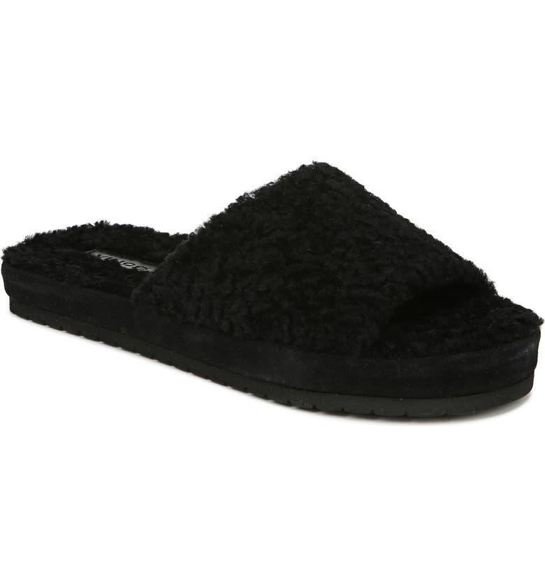 VINCE Kalina Genuine Shearling Slide Sandal, Main, color, BLACK
