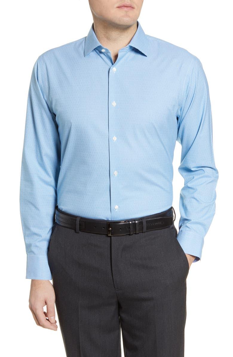 NORDSTROM MEN'S SHOP Trim Fit Non-Iron Solid Dress Shirt, Main, color, BLUE EUROPE