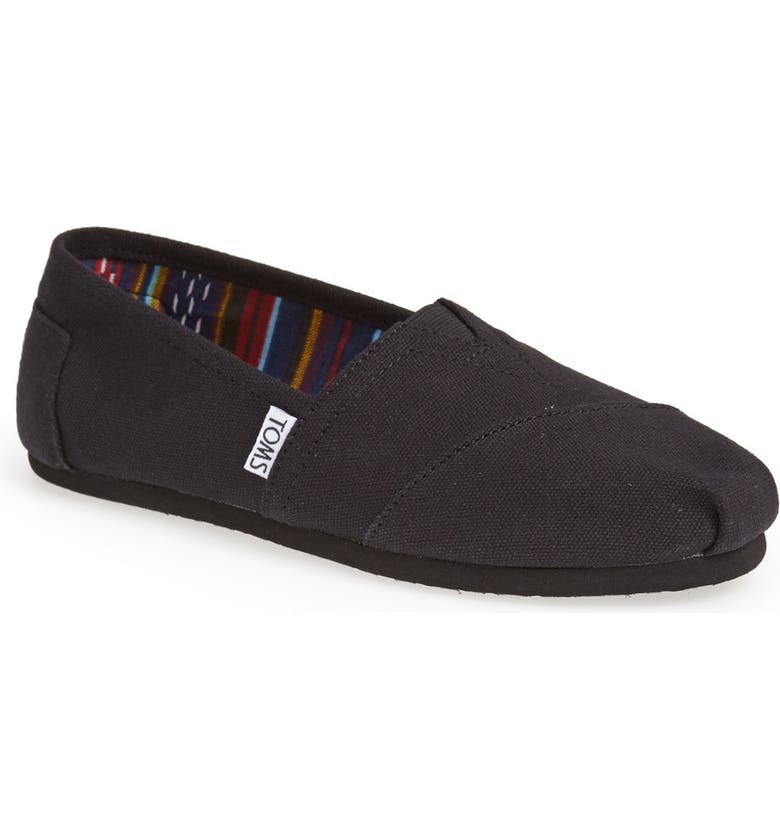 TOMS Classic Canvas Slip-On, Main, color, BLACK/BLACK